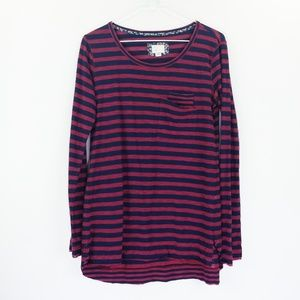 Anthropologie Postmark Top Sz S Red Blue Striped